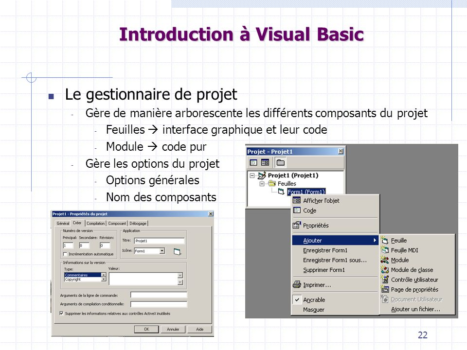 22 Introduction à Visual Basic Le gestionnaire de projet - Gère de manière arborescente les différents composants du projet - Feuilles interface graphique et leur code - Module code pur - Gère les options du projet - Options générales - Nom des composants