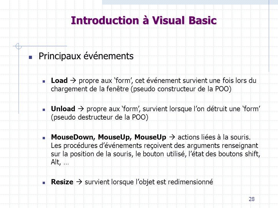 28 Introduction à Visual Basic Principaux événements Load propre aux form, cet événement survient une fois lors du chargement de la fenêtre (pseudo constructeur de la POO) Unload propre aux form, survient lorsque lon détruit une form (pseudo destructeur de la POO) MouseDown, MouseUp, MouseUp actions liées à la souris.