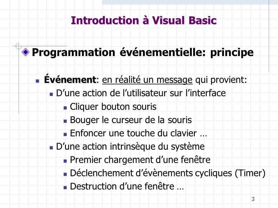 4 Introduction à Visual Basic Chaque événement est: capté par le système mis dans une file dattente (empilé sur une pile) La boucle de gestion des événements traite séquentiellement chaque événement de la pile selon le principe FIFO (First In First Out) Pour chaque événement: Analyse de lobjet qui a généré lévénement sous-programme Recherche du sous-programme associé à cet événement dans le cadre de lobjet en cause sil existe Exécution de ce sous-programme sil existe