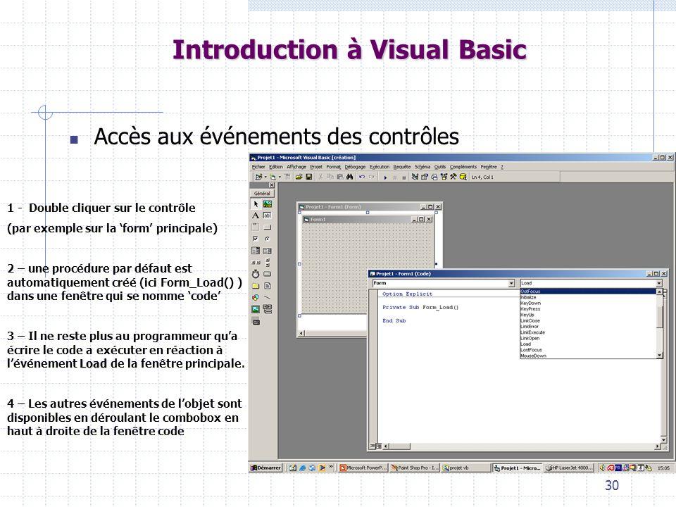 30 Introduction à Visual Basic Accès aux événements des contrôles 1 - Double cliquer sur le contrôle (par exemple sur la form principale) 2 – une procédure par défaut est automatiquement créé (ici Form_Load() ) dans une fenêtre qui se nomme code Load 3 – Il ne reste plus au programmeur qua écrire le code a exécuter en réaction à lévénement Load de la fenêtre principale.