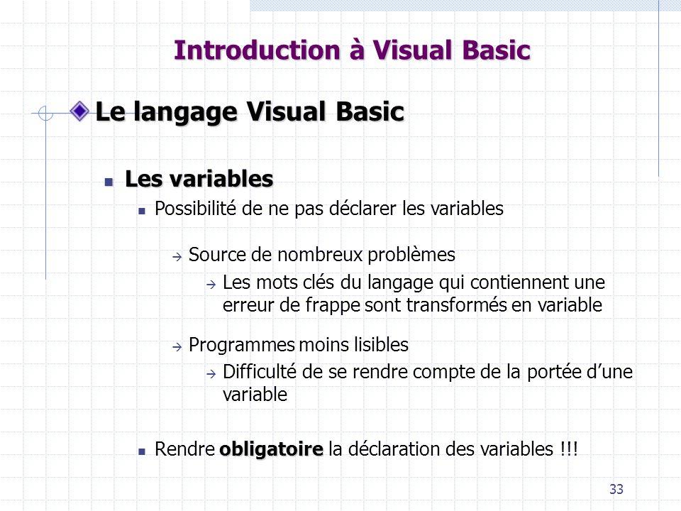 33 Introduction à Visual Basic Le langage Visual Basic Les variables Les variables Possibilité de ne pas déclarer les variables Source de nombreux pro