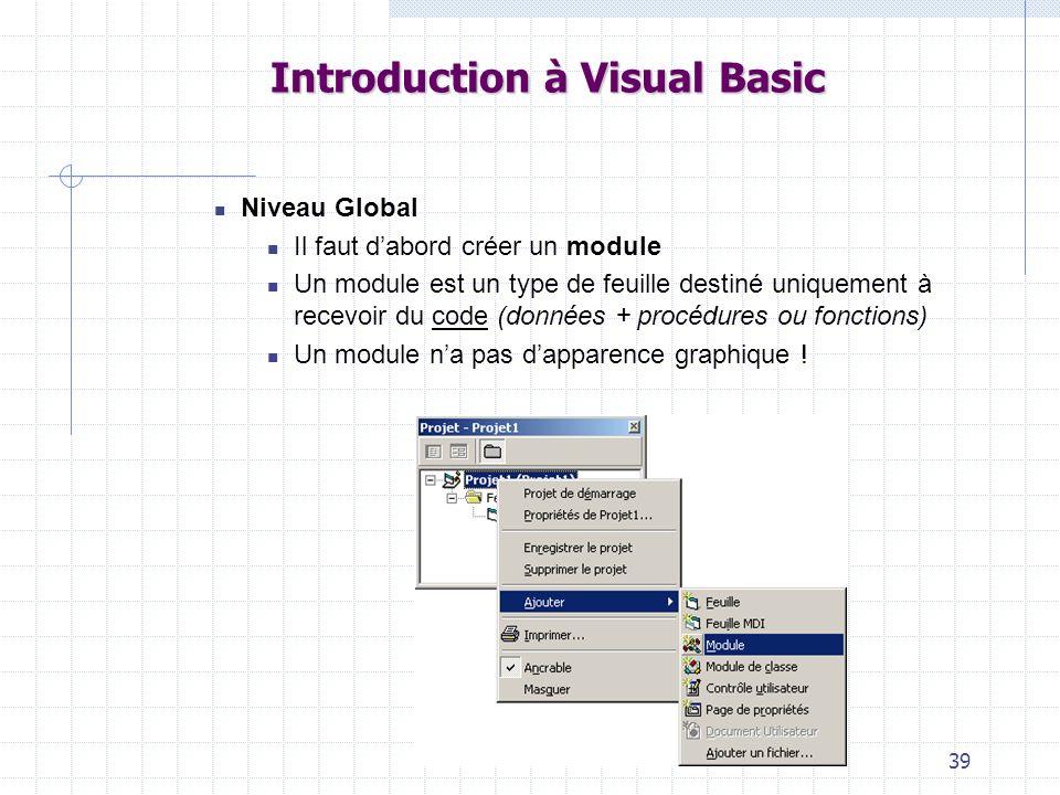 39 Introduction à Visual Basic Niveau Global Il faut dabord créer un module Un module est un type de feuille destiné uniquement à recevoir du code (données + procédures ou fonctions) Un module na pas dapparence graphique !