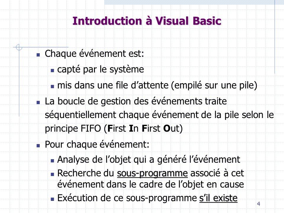 4 Introduction à Visual Basic Chaque événement est: capté par le système mis dans une file dattente (empilé sur une pile) La boucle de gestion des évé