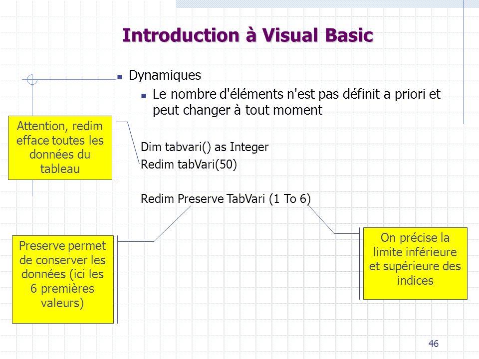 46 Introduction à Visual Basic Dynamiques Le nombre d éléments n est pas définit a priori et peut changer à tout moment Dim tabvari() as Integer Redim tabVari(50) Redim Preserve TabVari (1 To 6) Attention, redim efface toutes les données du tableau Preserve permet de conserver les données (ici les 6 premières valeurs) On précise la limite inférieure et supérieure des indices