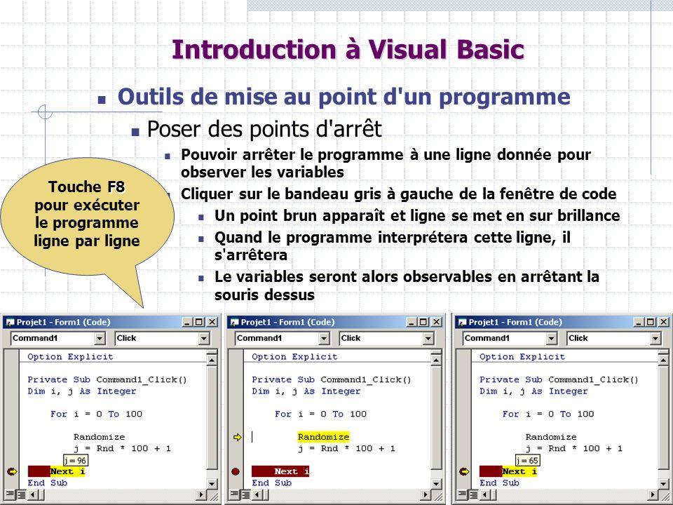 56 Introduction à Visual Basic Outils de mise au point d'un programme Poser des points d'arrêt Pouvoir arrêter le programme à une ligne donnée pour ob