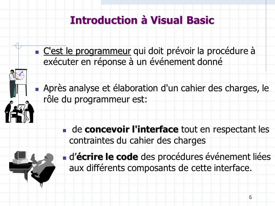 6 Introduction à Visual Basic C est le programmeur C est le programmeur qui doit prévoir la procédure à exécuter en réponse à un événement donné Après analyse et élaboration d un cahier des charges, le rôle du programmeur est: concevoir l interface de concevoir l interface tout en respectant les contraintes du cahier des charges décrire le code décrire le code des procédures événement liées aux différents composants de cette interface.