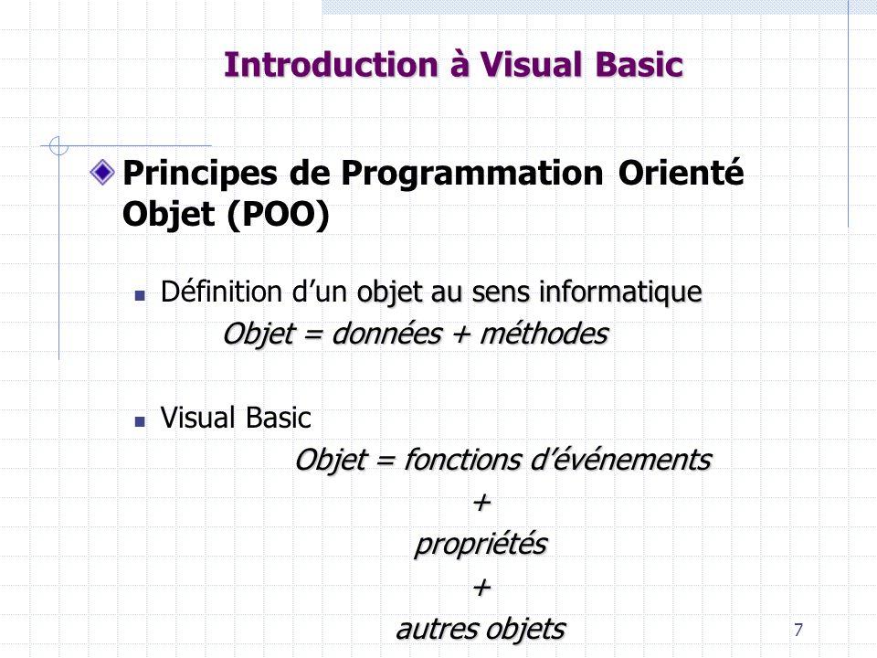 38 Introduction à Visual Basic Portée des variables Niveau procédure Déclarer la variable à lintérieur de la procédure Niveau Form Idem précédemment mais au début de la page de code de la Form, en dehors de toute procédure