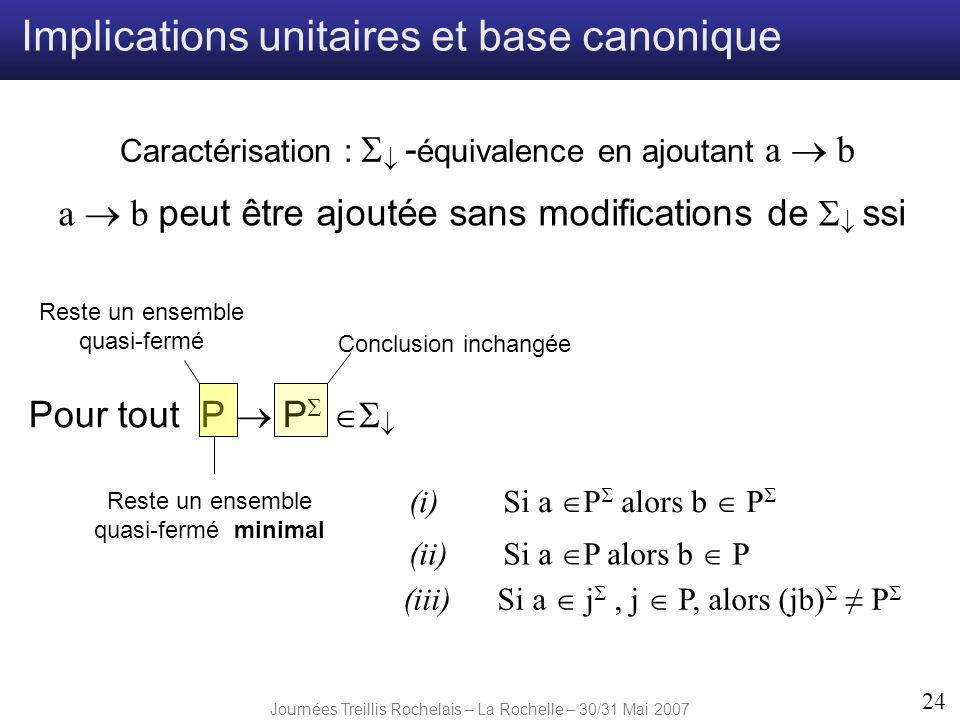 Journées Treillis Rochelais – La Rochelle – 30/31 Mai 2007 24 Pour tout P P Caractérisation : - équivalence en ajoutant a b (i) Si a P alors b P (ii)S