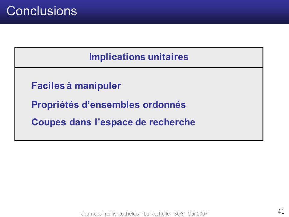 Journées Treillis Rochelais – La Rochelle – 30/31 Mai 2007 41 Conclusions Implications unitaires Faciles à manipuler Propriétés densembles ordonnés Co