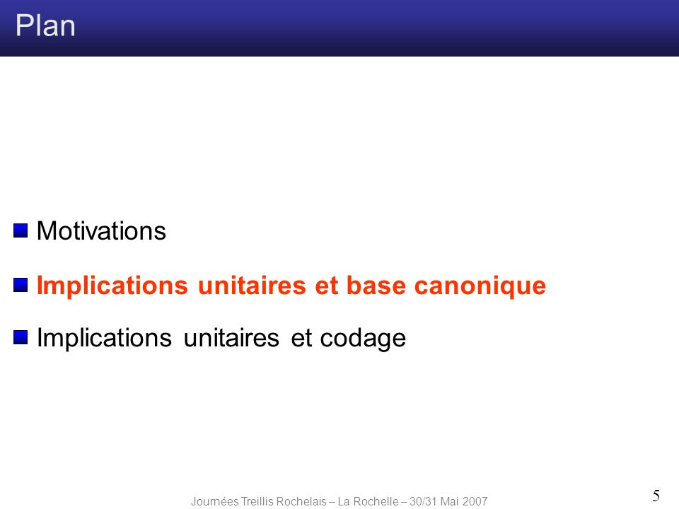 Journées Treillis Rochelais – La Rochelle – 30/31 Mai 2007 5 Plan Implications unitaires et codage Implications unitaires et base canonique Motivation