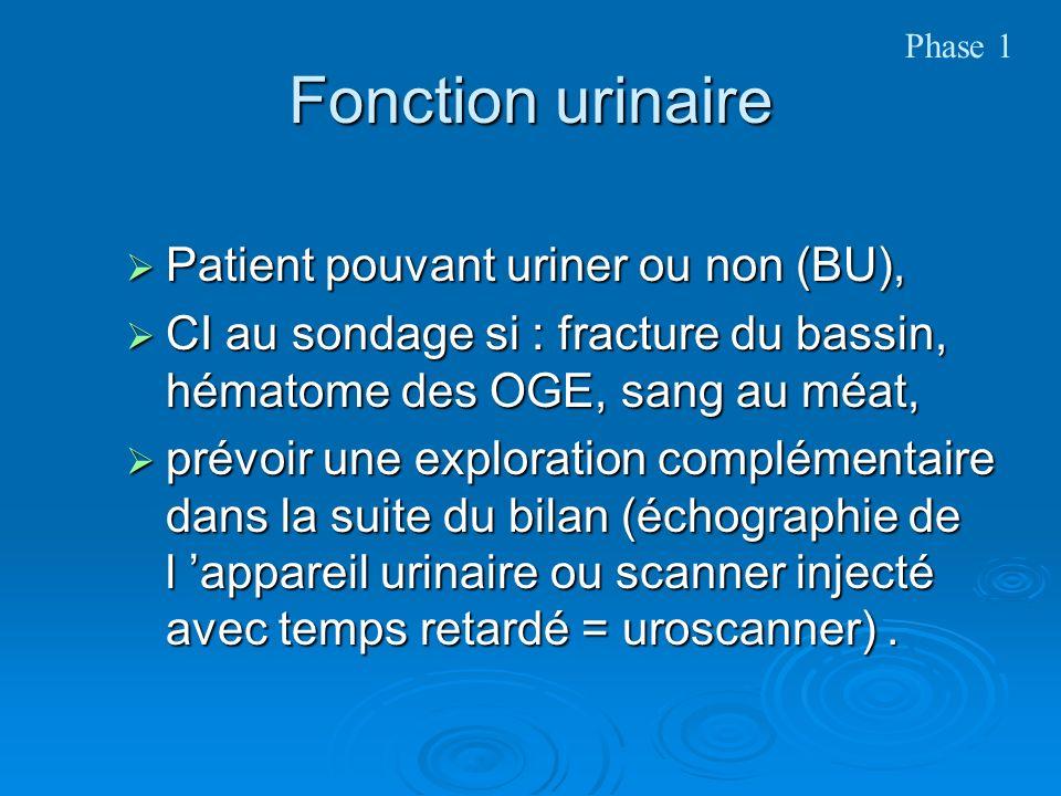 Fonction urinaire Patient pouvant uriner ou non (BU), Patient pouvant uriner ou non (BU), CI au sondage si : fracture du bassin, hématome des OGE, san