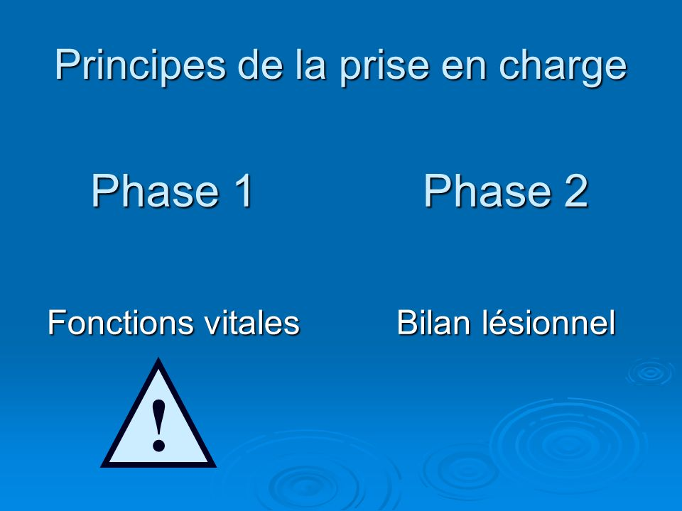 Principes de la prise en charge Phase 1 Fonctions vitales Phase 2 Bilan lésionnel !