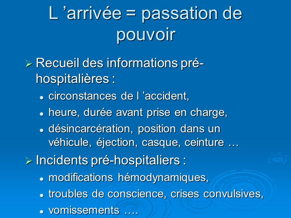 L arrivée = passation de pouvoir Recueil des informations pré- hospitalières : Recueil des informations pré- hospitalières : circonstances de l accide