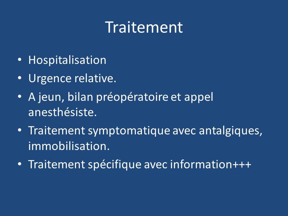 Traitement Hospitalisation Urgence relative. A jeun, bilan préopératoire et appel anesthésiste. Traitement symptomatique avec antalgiques, immobilisat