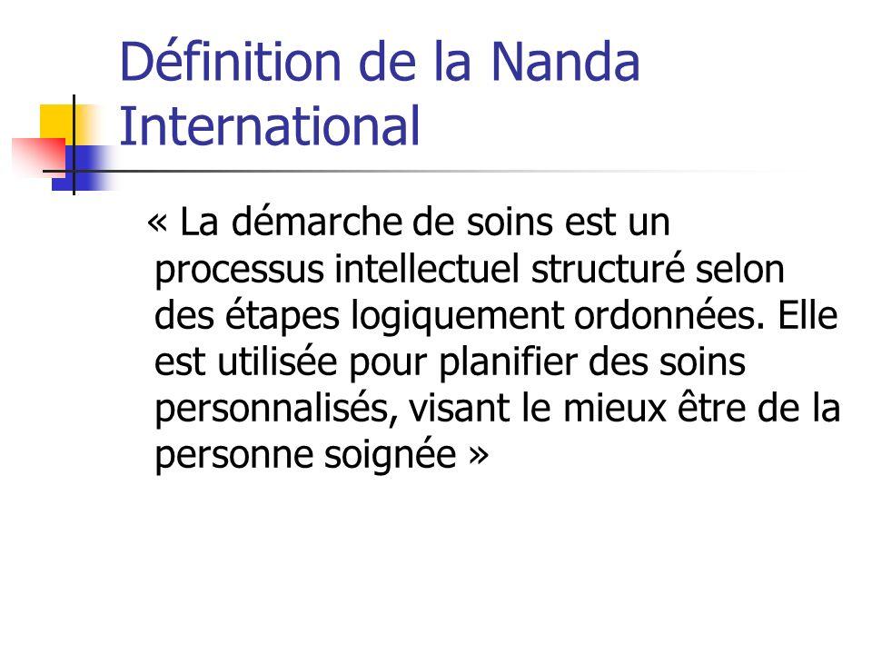 Définition de la Nanda International « La démarche de soins est un processus intellectuel structuré selon des étapes logiquement ordonnées.