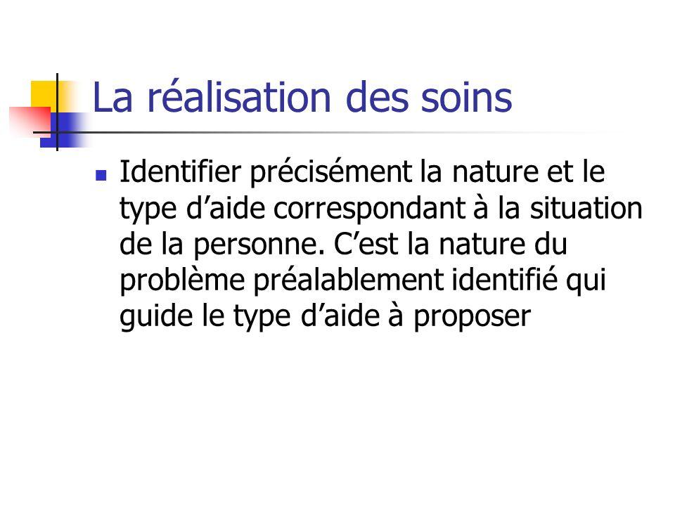 La réalisation des soins Identifier précisément la nature et le type daide correspondant à la situation de la personne.