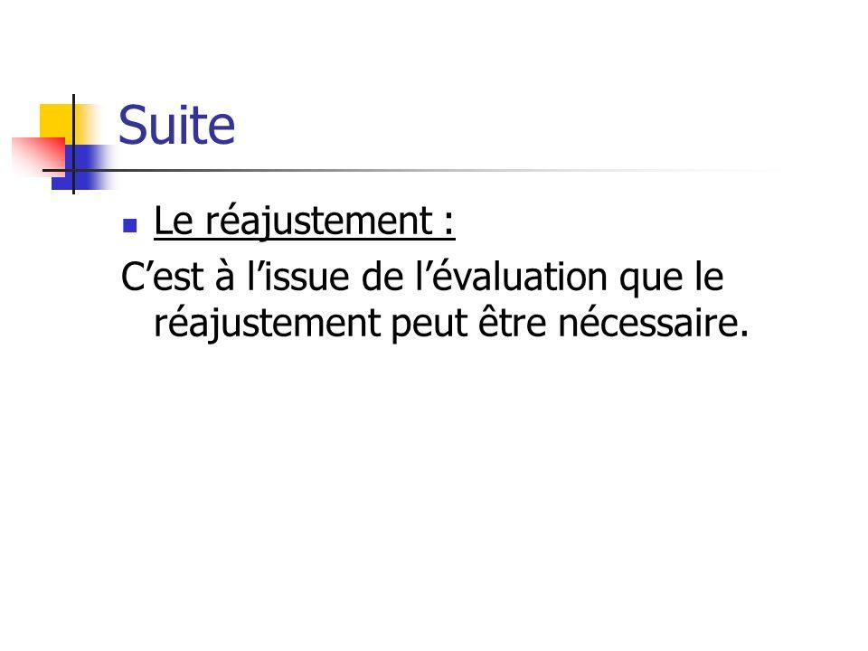 Suite Le réajustement : Cest à lissue de lévaluation que le réajustement peut être nécessaire.