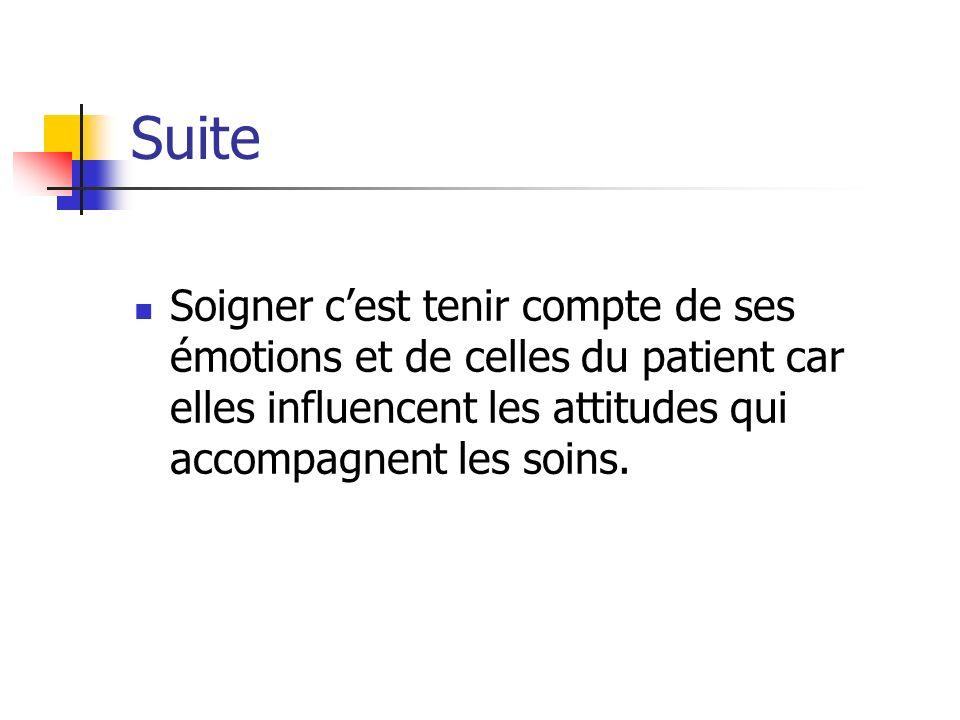 Suite Soigner cest tenir compte de ses émotions et de celles du patient car elles influencent les attitudes qui accompagnent les soins.