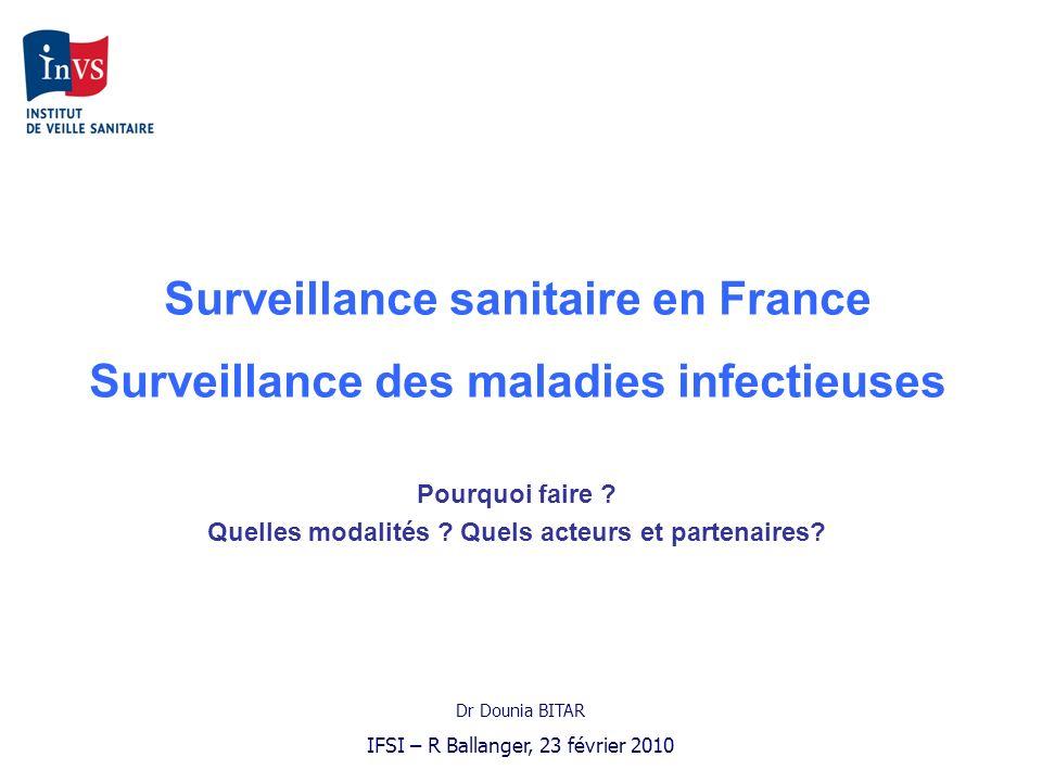 Surveillance sanitaire en France Surveillance des maladies infectieuses Pourquoi faire ? Quelles modalités ? Quels acteurs et partenaires? Dr Dounia B