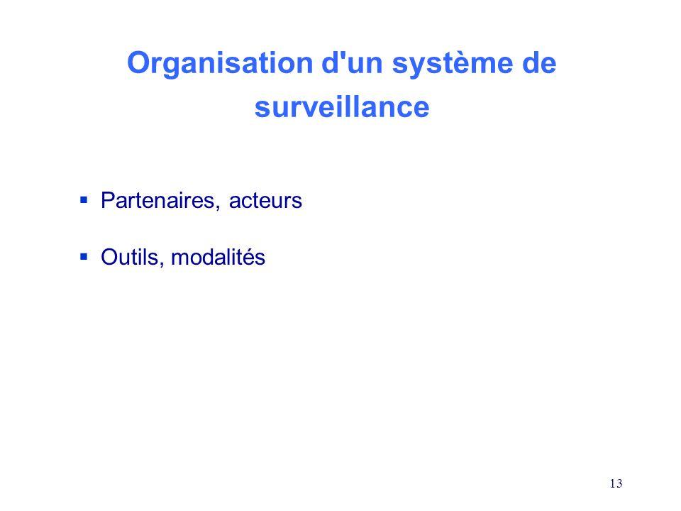 13 Organisation d'un système de surveillance Partenaires, acteurs Outils, modalités