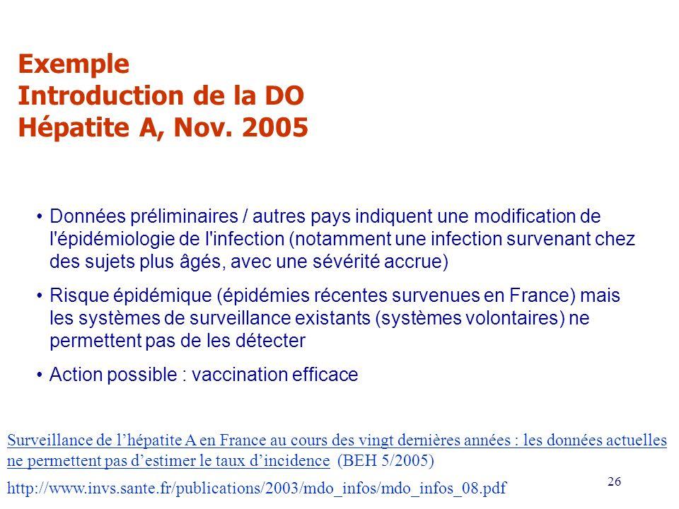 26 Exemple Introduction de la DO Hépatite A, Nov. 2005 http://www.invs.sante.fr/publications/2003/mdo_infos/mdo_infos_08.pdf Données préliminaires / a