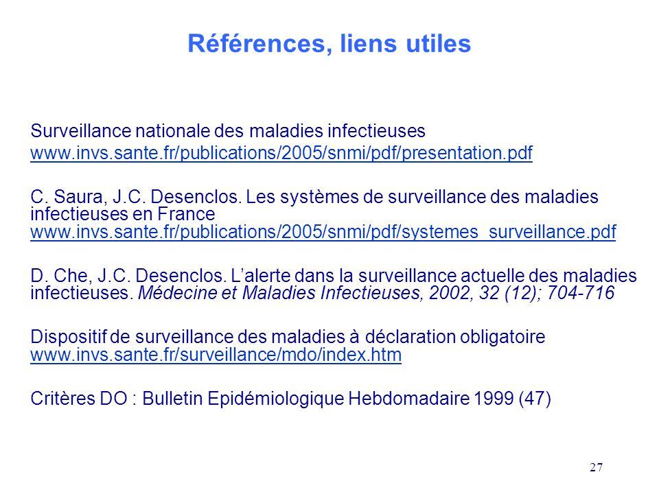 27 Références, liens utiles Surveillance nationale des maladies infectieuses www.invs.sante.fr/publications/2005/snmi/pdf/presentation.pdf C. Saura, J
