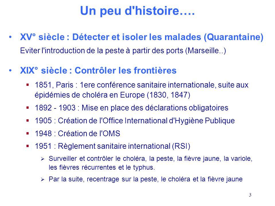 3 XV° siècle : Détecter et isoler les malades (Quarantaine) Eviter l'introduction de la peste à partir des ports (Marseille..) XIX° siècle : Contrôler