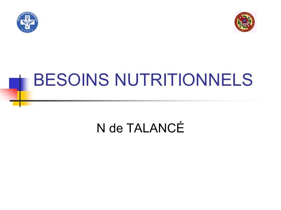 Besoins nutritionnels de ladulte Définitions: ANC: Apport nutritionnel conseillé correspond au besoin moyen dune population de sexe et dâge définis + 2 écarts types.