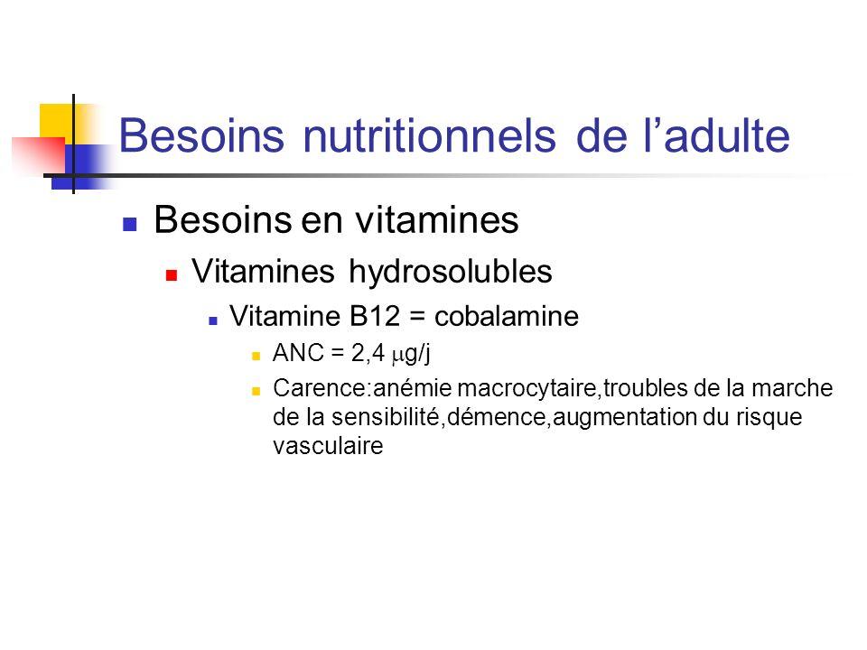 Besoins nutritionnels de ladulte Besoins en vitamines Vitamines hydrosolubles Vitamine B12 = cobalamine ANC = 2,4 g/j Carence:anémie macrocytaire,trou