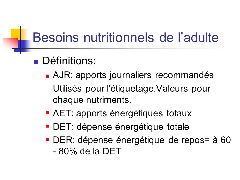Besoins nutritionnels du sujet âgé Besoins énergétiques proches de ceux de ladulte Augmentation des apports en 6 et en 3 Augmentation des apports en calcium:1200 mg/j Supplémentation en cholécalciférol (vitamine D),fer,folates.