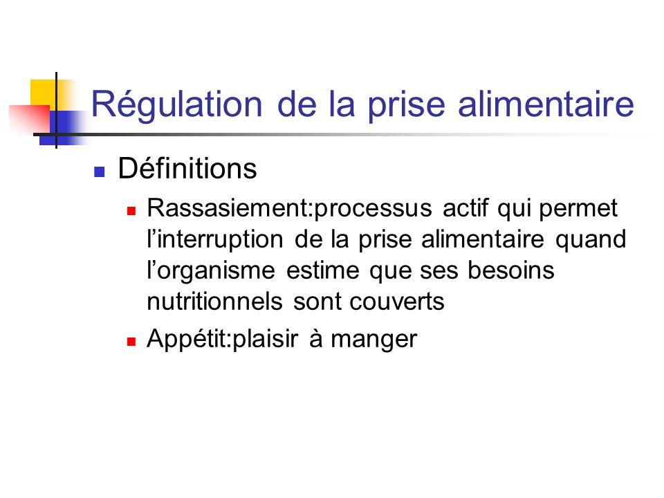 Régulation de la prise alimentaire Définitions Rassasiement:processus actif qui permet linterruption de la prise alimentaire quand lorganisme estime q