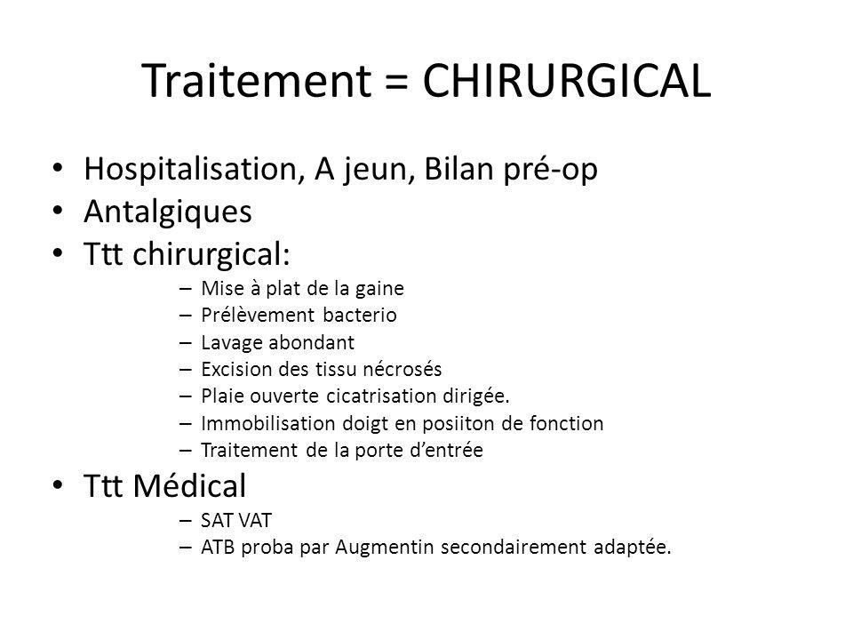 Traitement = CHIRURGICAL Hospitalisation, A jeun, Bilan pré-op Antalgiques Ttt chirurgical: – Mise à plat de la gaine – Prélèvement bacterio – Lavage