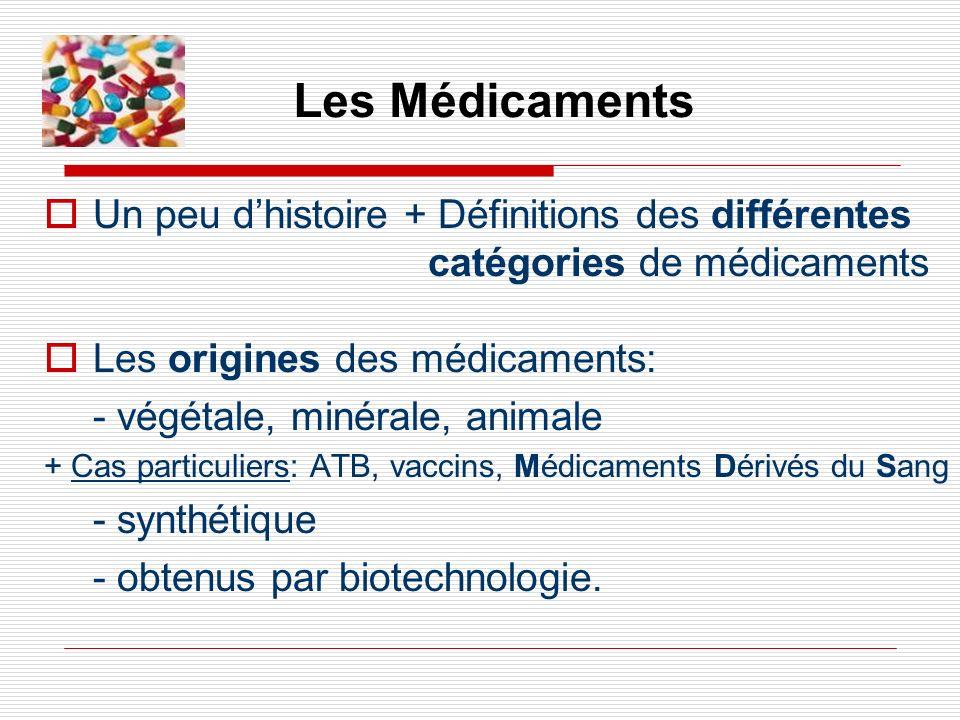Un peu dhistoire + Définitions des différentes catégories de médicaments Les origines des médicaments: - végétale, minérale, animale + Cas particulier