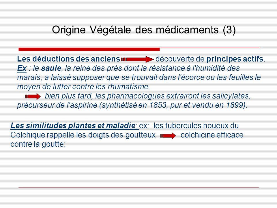 Origine Végétale des médicaments (3) Les similitudes plantes et maladie: ex: les tubercules noueux du Colchique rappelle les doigts des goutteux colch