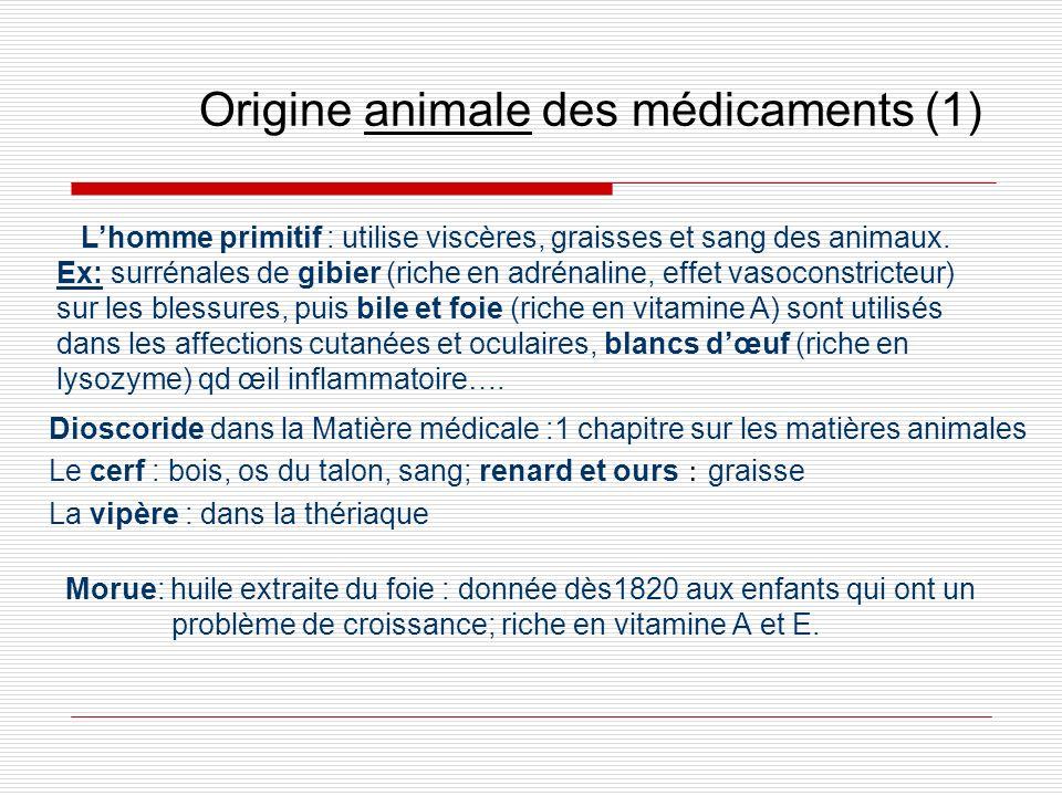 Origine animale des médicaments (1) Morue: huile extraite du foie : donnée dès1820 aux enfants qui ont un problème de croissance; riche en vitamine A