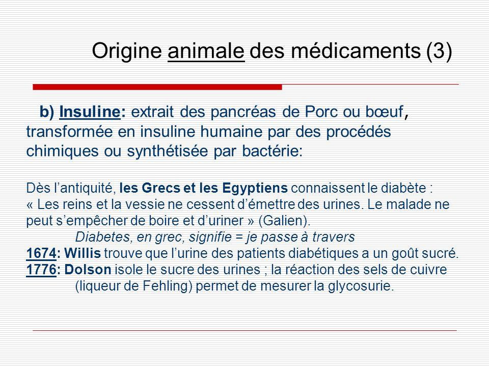 Origine animale des médicaments (3) b) Insuline: extrait des pancréas de Porc ou bœuf, transformée en insuline humaine par des procédés chimiques ou s
