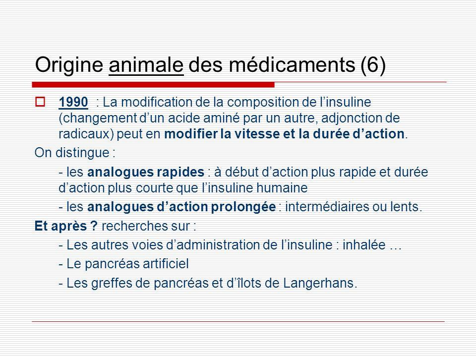 Origine animale des médicaments (6) 1990 : La modification de la composition de linsuline (changement dun acide aminé par un autre, adjonction de radi