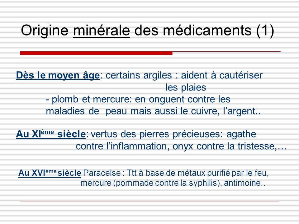 Origine minérale des médicaments (1) Au XVI ème siècle Paracelse : Ttt à base de métaux purifié par le feu, mercure (pommade contre la syphilis), anti
