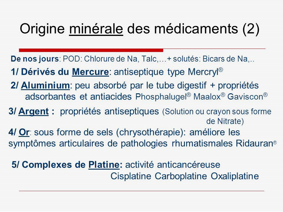 Origine minérale des médicaments (2) De nos jours: POD: Chlorure de Na, Talc,…+ solutés: Bicars de Na,.. 1/ Dérivés du Mercure: antiseptique type Merc