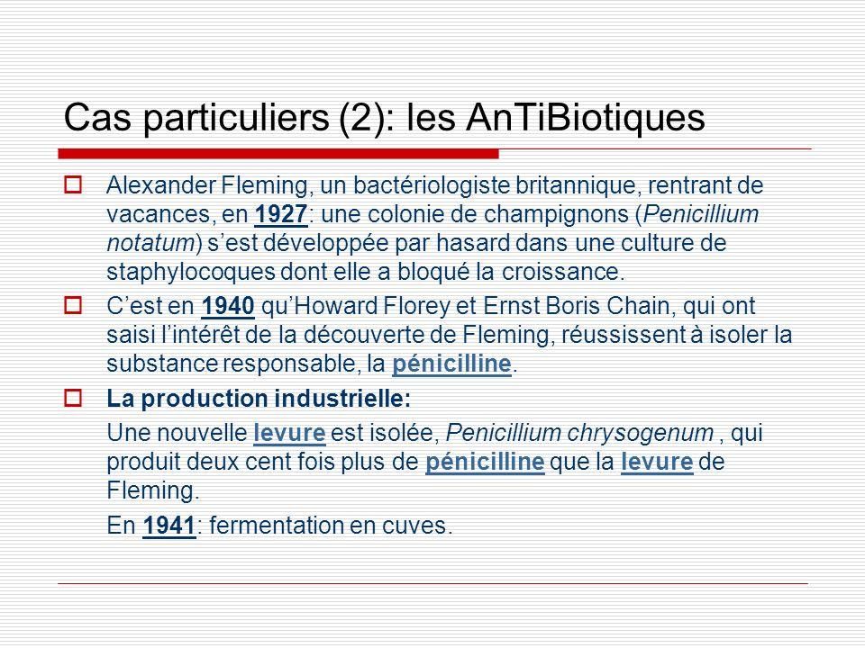Cas particuliers (2): les AnTiBiotiques Alexander Fleming, un bactériologiste britannique, rentrant de vacances, en 1927: une colonie de champignons (