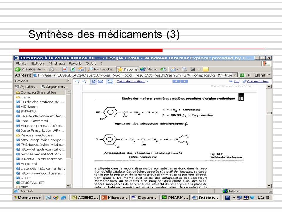 Synthèse des médicaments (3)