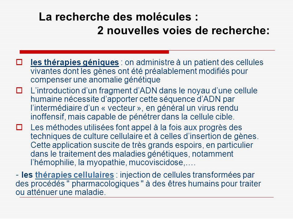 La recherche des molécules : 2 nouvelles voies de recherche: les thérapies géniques : on administre à un patient des cellules vivantes dont les gènes