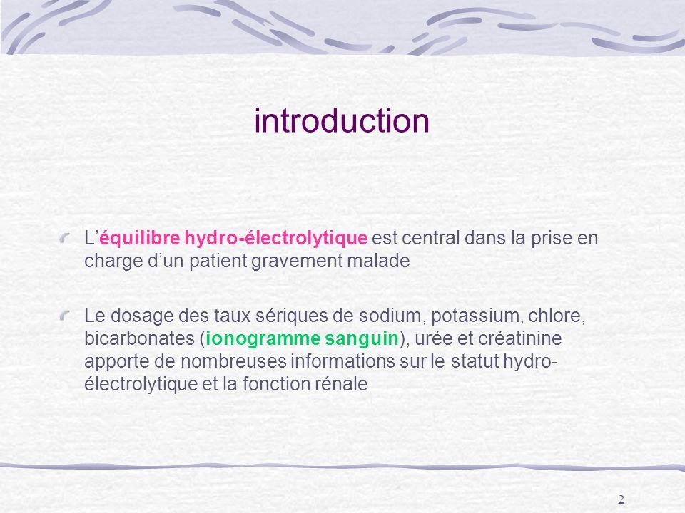 2 introduction Léquilibre hydro-électrolytique est central dans la prise en charge dun patient gravement malade Le dosage des taux sériques de sodium,