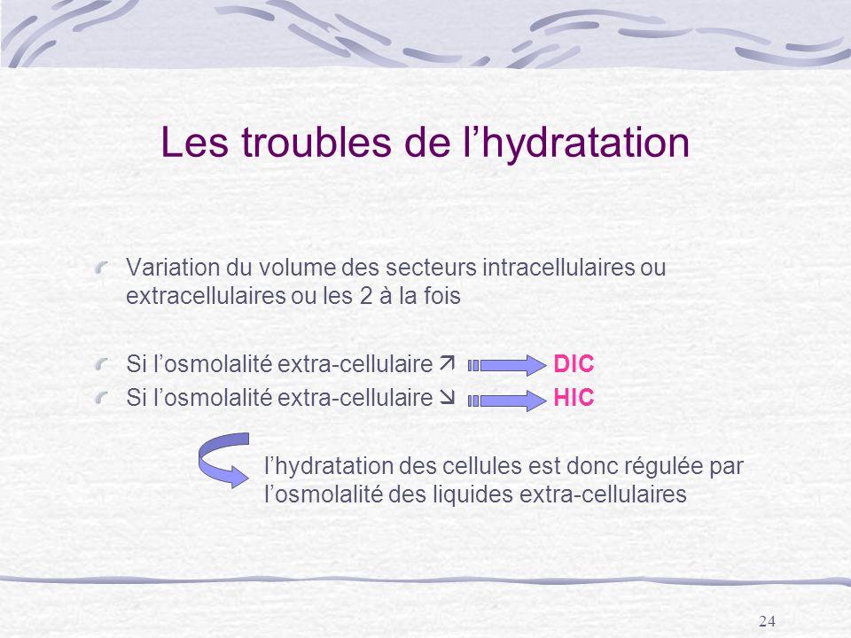 24 Les troubles de lhydratation Variation du volume des secteurs intracellulaires ou extracellulaires ou les 2 à la fois Si losmolalité extra-cellulai