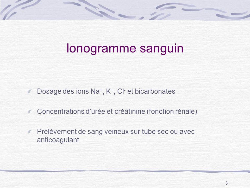3 Ionogramme sanguin Dosage des ions Na +, K +, Cl - et bicarbonates Concentrations durée et créatinine (fonction rénale) Prélèvement de sang veineux