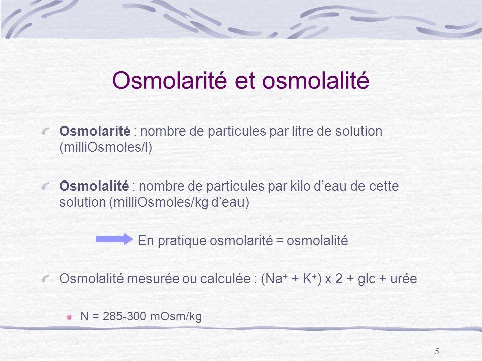 5 Osmolarité et osmolalité Osmolarité : nombre de particules par litre de solution (milliOsmoles/l) Osmolalité : nombre de particules par kilo deau de