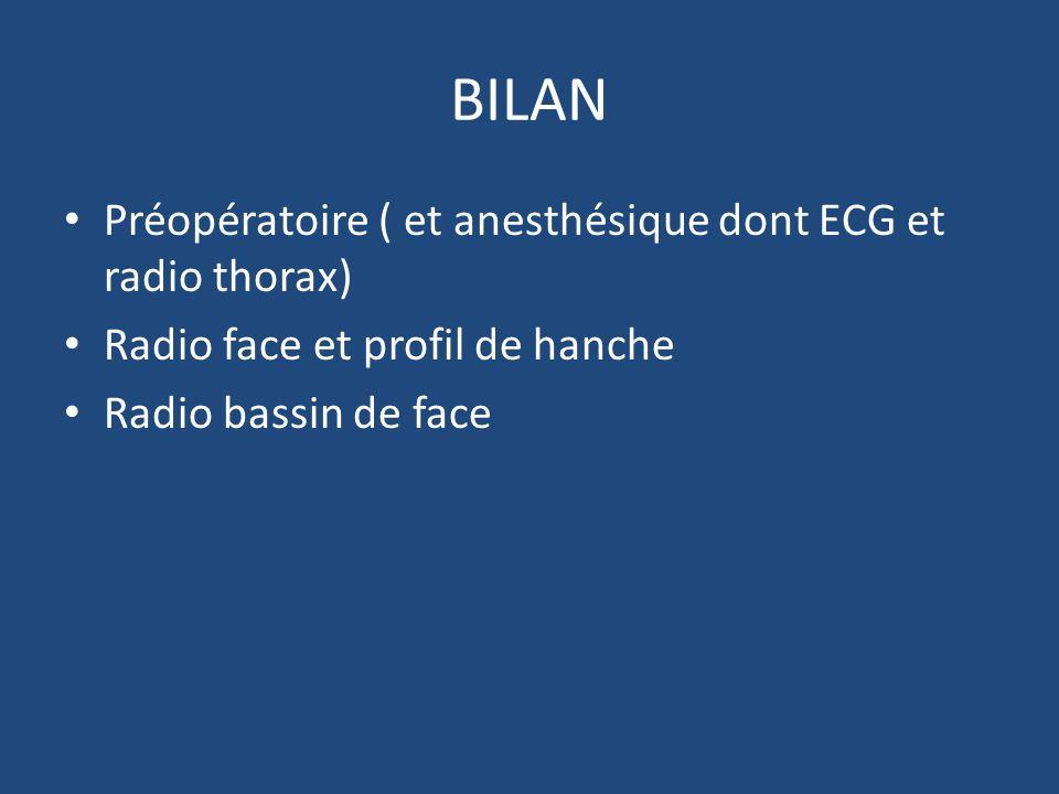 BILAN Préopératoire ( et anesthésique dont ECG et radio thorax) Radio face et profil de hanche Radio bassin de face