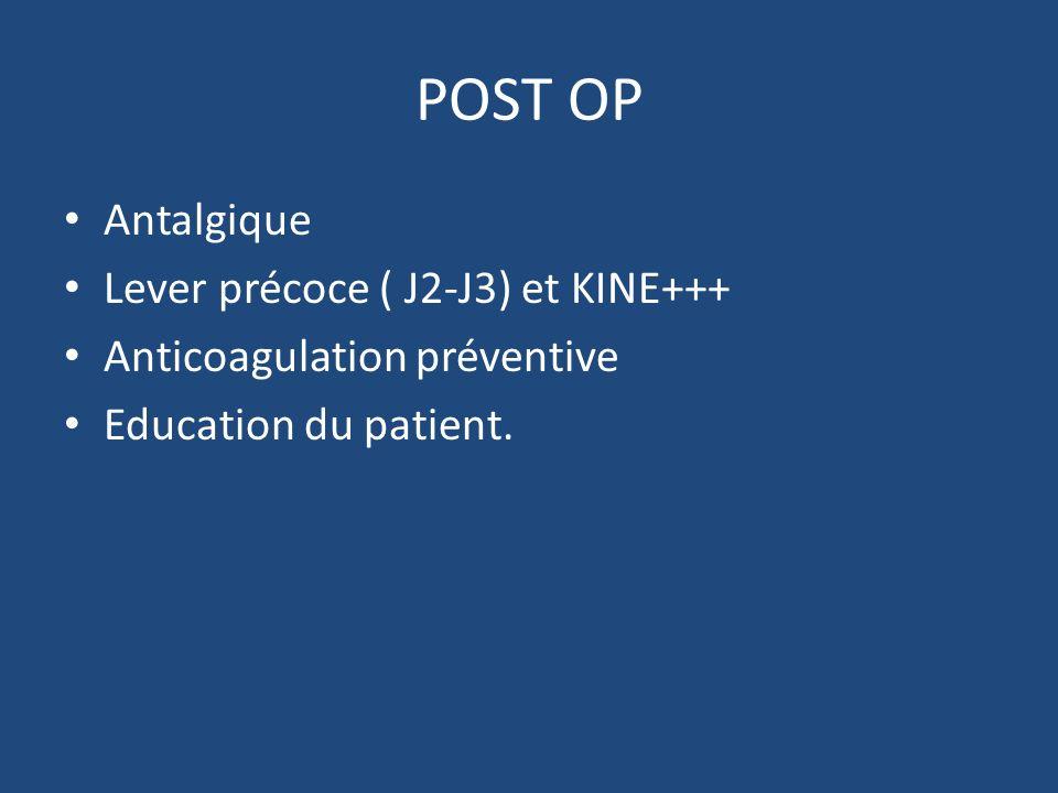 POST OP Antalgique Lever précoce ( J2-J3) et KINE+++ Anticoagulation préventive Education du patient.
