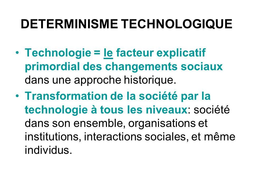 Plusieurs approches Déterminisme « dur »: technologie = condition nécessaire et suffisante imposant des changements sociétaux radicaux Déterminisme « souple »: technologie = facteur clef, (néanmoins parmi dautres), engendrant des changements sociétaux