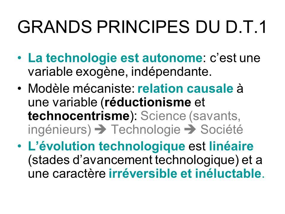 GRANDS PRINCIPES DU D.T.1 La technologie est autonome: cest une variable exogène, indépendante.